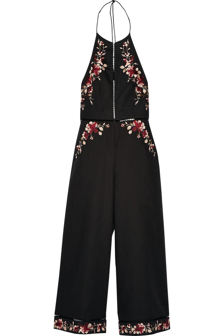 bc55f841b5b Zimmermann Sakura Embroidered Linen and Cotton-Blend Jumpsuit in black
