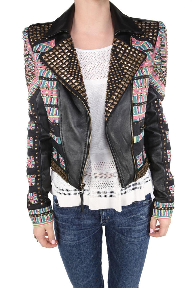 BCBG MAXAZRIA Runway Ossie Black Studded Studs Embroided Leather Jacket (SIZE M)