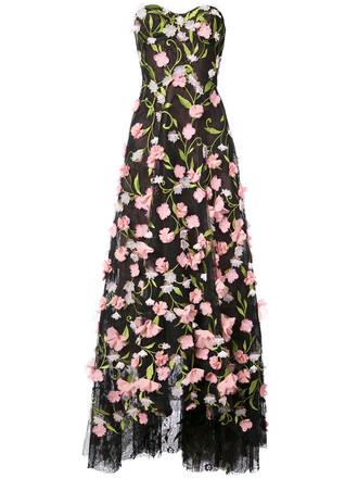 gown strapless women floral black dress