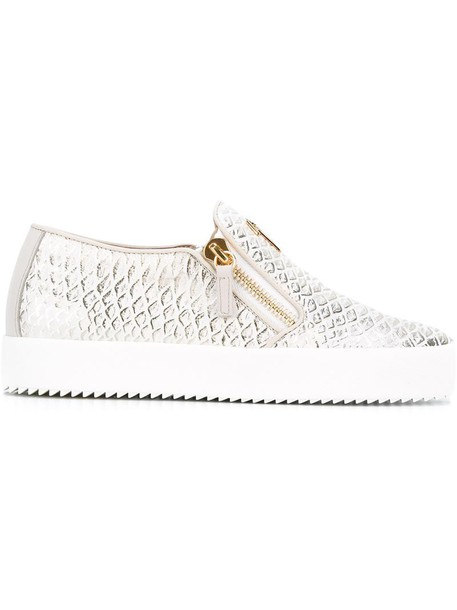 GIUSEPPE ZANOTTI DESIGN women python sneakers leather white shoes