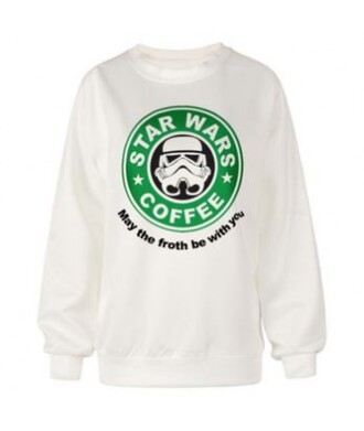 sweater starbucks coffee star wars white it girl shop hipster winter outfits hippie tumblr urban thanksgiving