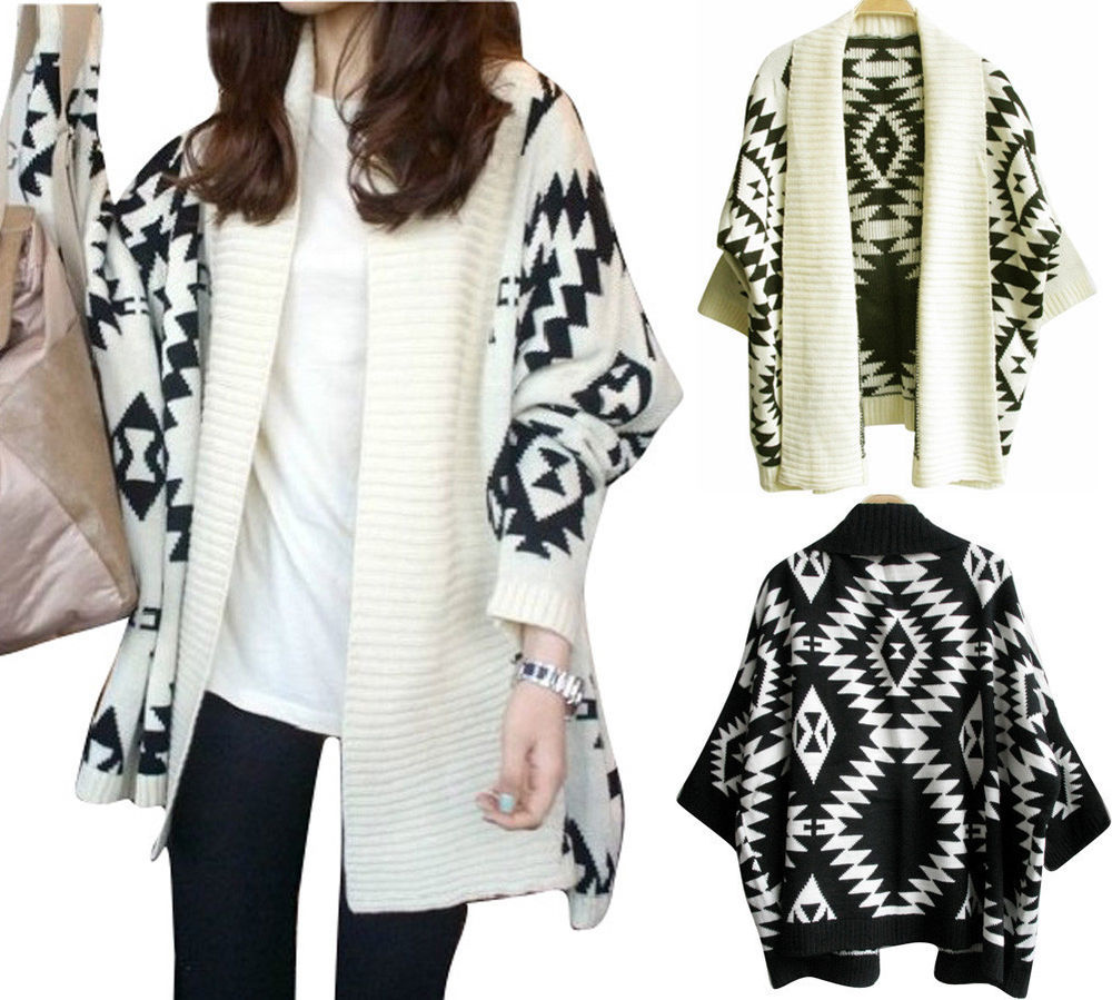 Womens Aztec Open Front Wrap Cape Sweater Jacket Cardigan Loose Oversized Coat | eBay