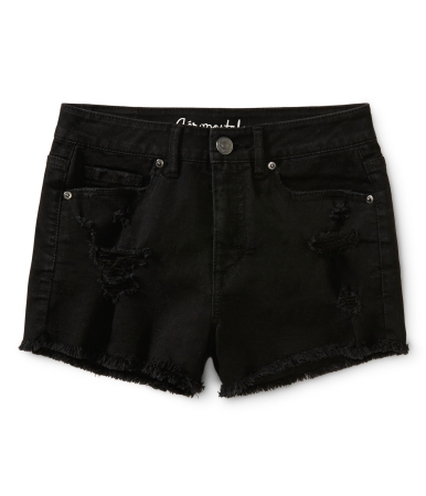 High-Waisted Destroyed Black Wash Shorty Shorts -