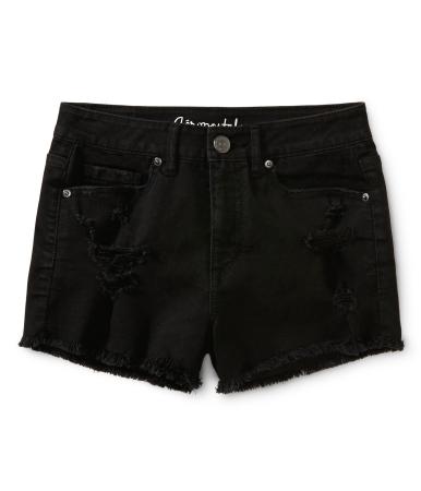 High-Waisted Destroyed Black Wash Shorty Shorts -