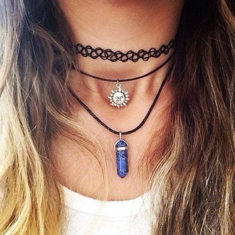 jewels moon sun grunge crystal white witch good necklace choker necklace black black choker grunge jewelry jewelry