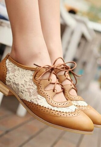 shoes lace oxfords lace up leather brown white cute pretty dress shorts clothes faux hipster lace oxfords casual lace tan cut-outs vintage flats brown shoes lace shoes cute shoes beige shoes tan shoes google style fashion boho chic beige