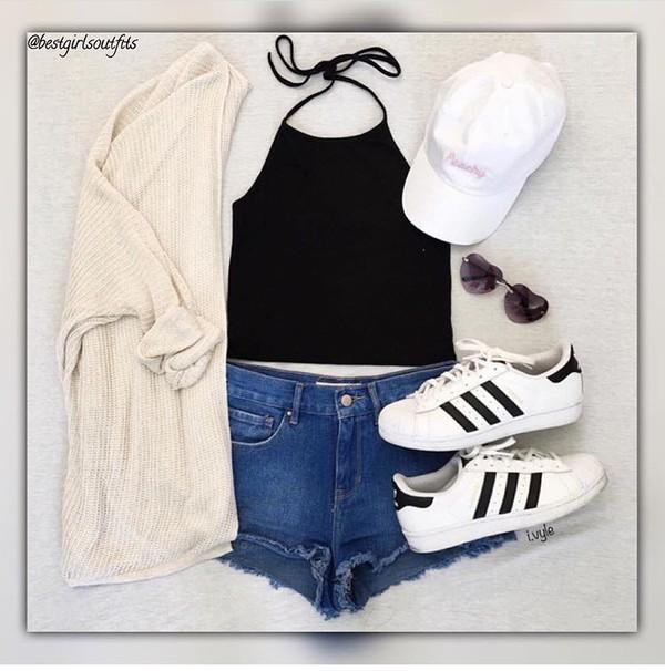 blouse cardigan shorts hat sunglasses shoes black crop top outfit