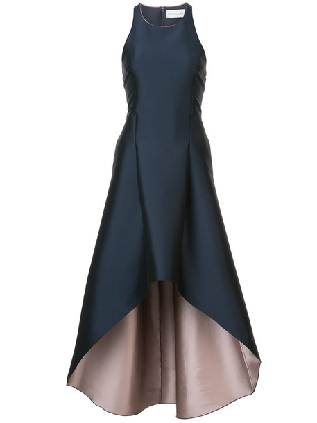 gown high women blue satin dress