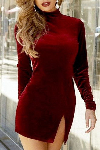 dress burgundy long sleeves velvet fall outfits solid color side slit stand collar long sleeves dress cool warm trendy sexy