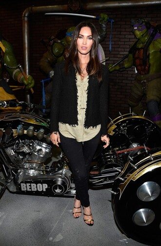 jacket sandals mules megan fox blouse