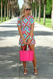 romper,dress,bag,chevron fit,hot pink bag,shorts,shirt,jumpsuit,colorful jumpsuit,colorful,pink romper,turquoise,coral,very vibrant,chevron,preppy,blue,orange,cute,summer,bright,pink,romper pink