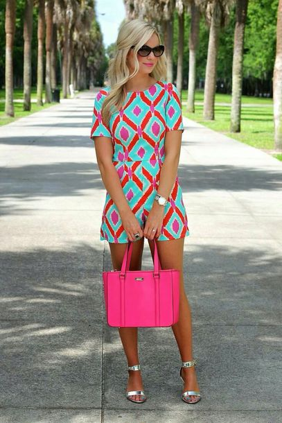 romper dress bag chevron fit hot pink bag shorts shirt jumpsuit colorful jumpsuit colorful pink romper turquoise coral very vibrant chevron preppy blue orange cute summer bright pink romper pink