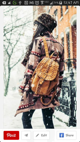 cardigan need this in my life tribal pattern leather backpack winter outfits bag jag lever