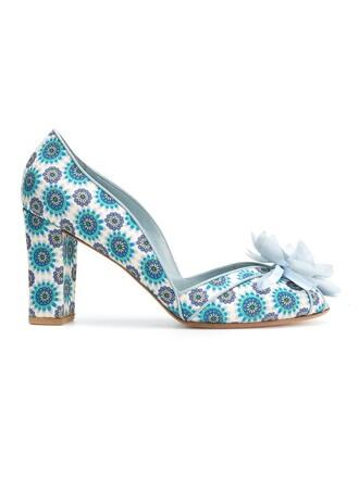 women embellished pumps blue shoes