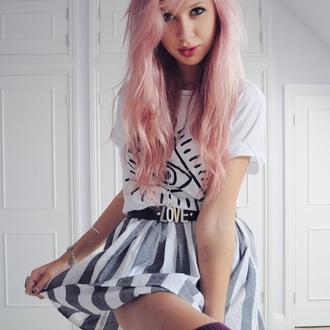 skirt blue and white striped flared skater skirt