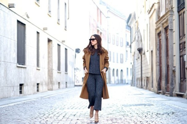 my free choice blogger charcoal rust long coat winter outfits cropped pants