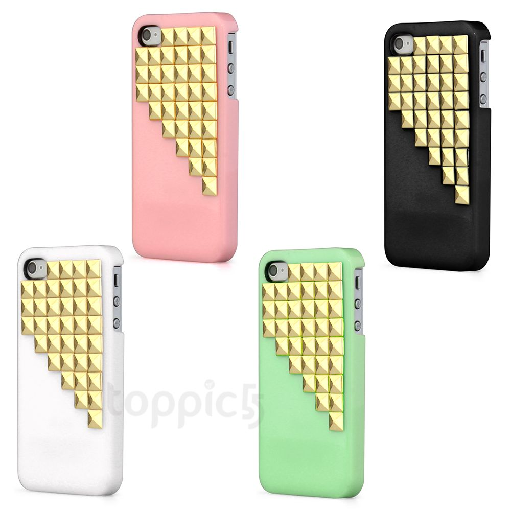 Hard Gold Studs Rivets Back Case Cover Skin for Apple iPhone 4 4S | eBay