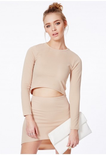 Missguided - Bibianka Camel Crop Top With Curve Hem