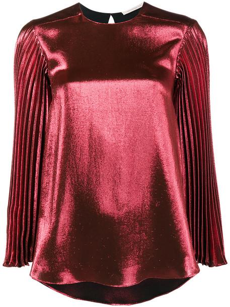 CHRISTOPHER KANE top pleated long metallic women silk red