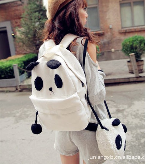 custom picture  panda canvas bag casual women backpack shoulder bag student bags mother and baby bag sweet style fashion-in Luggage & Bags on Aliexpress.com