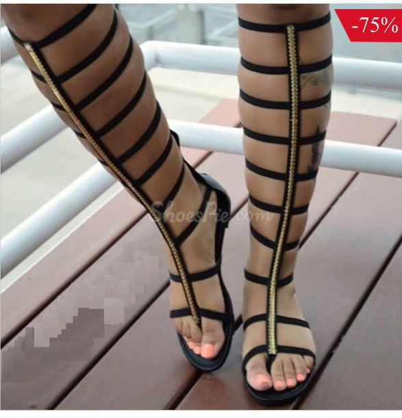 6a588d514b6 shoes black sandals gold black sandals flat gladiator sandals sandals knee  high gladiator sandals