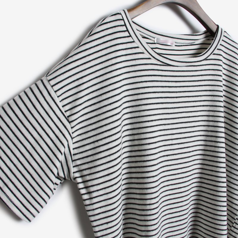 Grey Short Sleeve Striped Loose T-Shirt - Sheinside.com