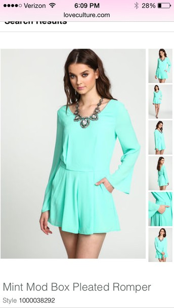 romper mint mod box pleaded romper get it at www.loveculture.com