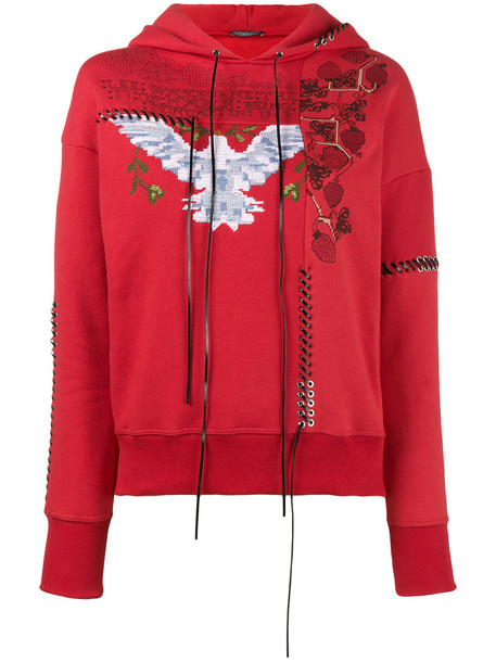 hoodie embroidered women cotton red sweater