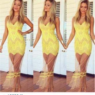 shear less yellow dress summer dress lace dress maxi dress prom dress yellow lace see through dress www.ebonylace.net