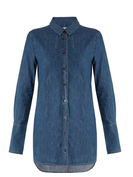 Equipment shirt cotton blue top
