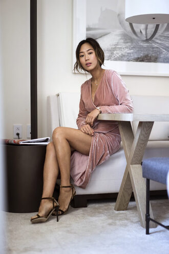 song of style blogger dress shoes jewels wrap dress velvet dress pink dress high heel sandals sandals