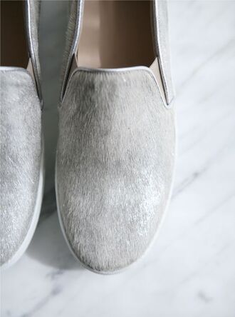 shoes grey fur sneakers slip-on loafers