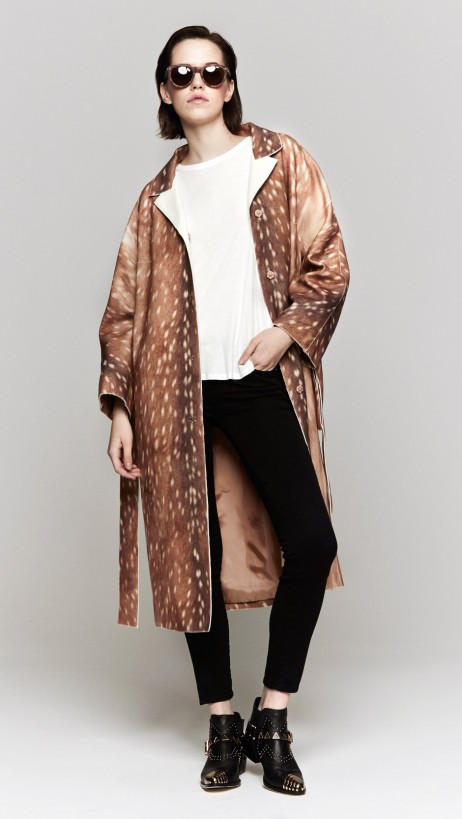 Carven Printed Woolen Coat In Fawn | The Dreslyn