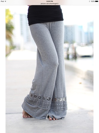 pants grey crochet detailed palazzo cotton/spandex
