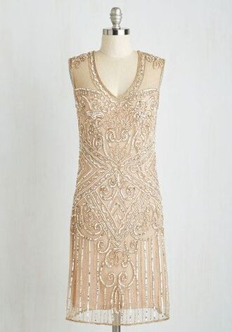 dress nude sequins beaded see through mesh 2015 2016 new year's eve 20s 1920s the great gatsby flapper cream tan beige