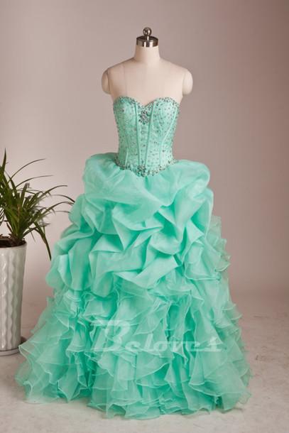 dress mint green prom dress sweetheart ball gown