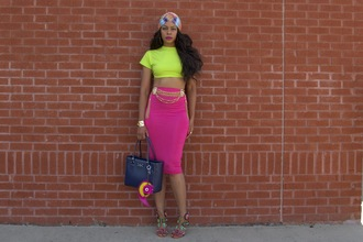 allthingsslim blogger top skirt bag shoes sandals handbag crop tops green top pencil skirt summer outfits