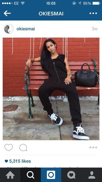 jumpsuit black allinone sweat joggers tracksuit zip