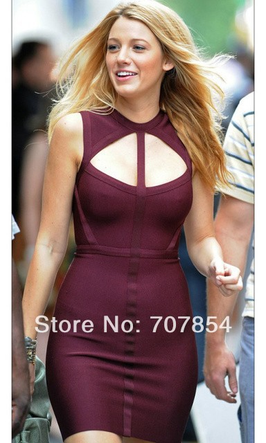 2014 blake lively burgandy short cut out bandage dress women party dresses tpd162