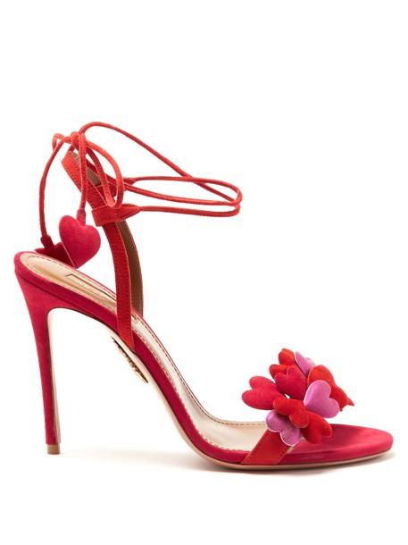 Aquazzura sandals suede red shoes