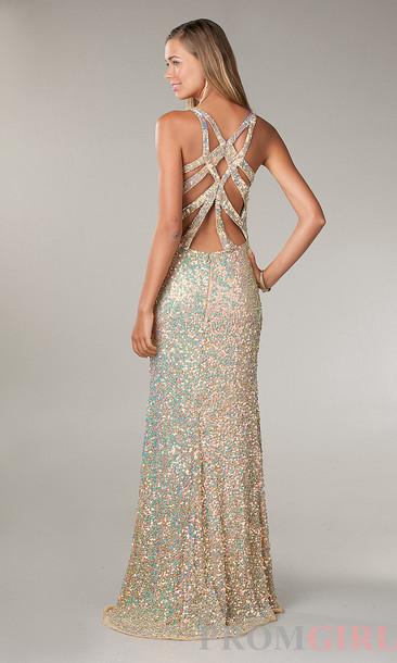dress, iridescent, gold, sequins, long prom dress, glitter dress ...