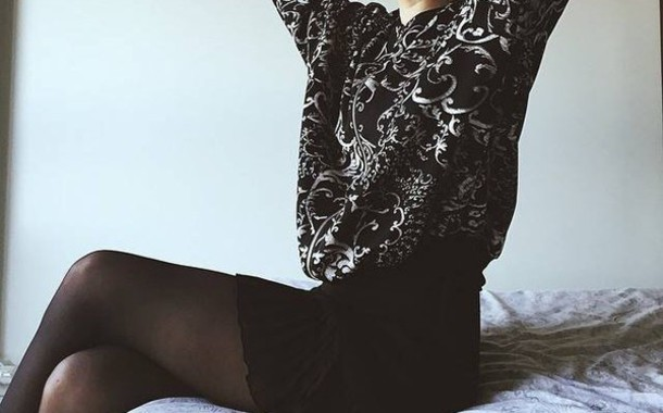 sweater black sweater black top top barok skirt black skirt high waisted skirt cute cute skirt bottoms