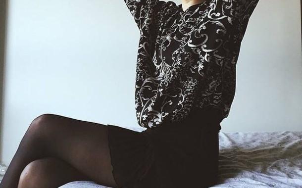 sweater black sweater black top top barok skirt black skirt high waisted skirt cute cute skirt bottoms