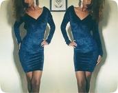 dress,velvet,navy,blue,long,long sleeve dress,love,fashion,clothes,women