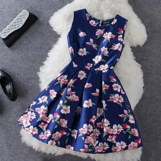 cute dress light pink flowers dark blue dress dress blue dress dresses up amazing lovely flowers pink flowers lovely dress floral dress pink dress pink flowers bright fashion