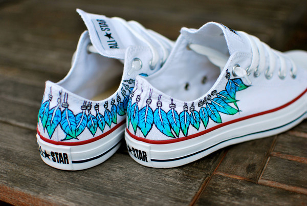 Feather custom converse sneakers, anime/fandom custom shoes, best gift for men women · fanartshoes · online store powered by storenvy