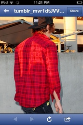 shirt,harry styles,red,flannel,flannel shirt,plaid