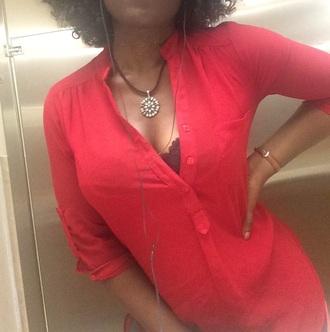 blouse chiffon red shir sheer