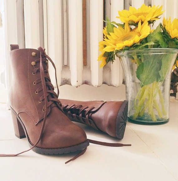 brown shoes heels combat boots