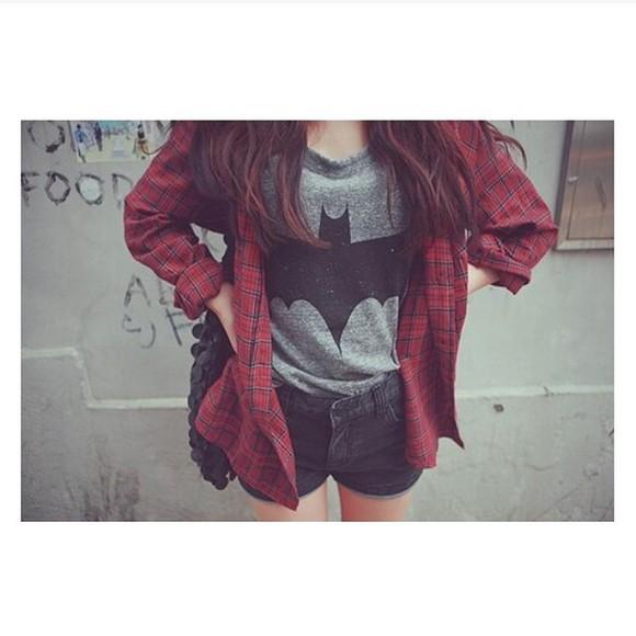 batman t-shirt shirt marvel gray t-shirts ulzzang korean fashion